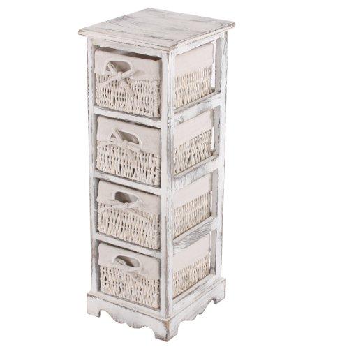 Mendler Regal Kommode mit 4 Korbschubladen 74x25x28cm, Shabby-Look, Vintage ~ weiß