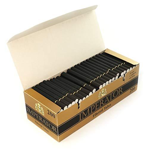 Imperator Carbon 200 gefilterte Zigarettenhülsen Schwarze Farbe - 1 Box mit 200 Röhren