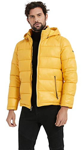 BINACL Cotton Padded Outerwear for Men,Winter Hooded Athletic Insulated Puffer Down Alternative Extreme Windproof Fashion Jacket Mountain Bike Short Coats for Husband/Father/Son,Yellow XL