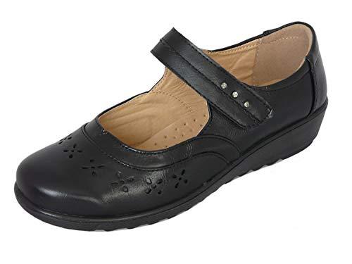 Zapatos Merceditas para Mujeres Merceditas Mujer con Tacón de Cuña Bajo - Cuero Sintético - Negro (35.5 EU)