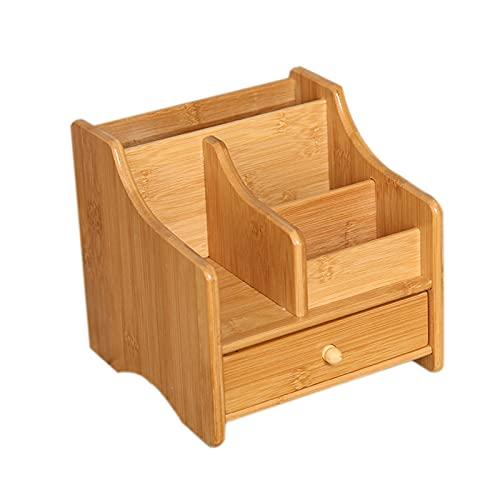 QULONG Hölzerner Bambus-Schreibtisch-Organizer-Make-up, Desktop-Kosmetikkasten mit Schubladenklappen, Parfüms Lagerung für Büroschlafzimmer-Arbeitsplatte Hausküche