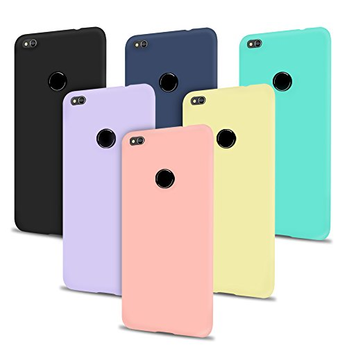 6 x Coque Huawei P8 Lite 2017, SpiritSun Etui Coque TPU Slim Bumper Souple Silicone Etui de Protection Flexible Case Couverture Anti Choc Ultra Mince Housse - Rose Noir Jaune Bleu Violet Bleu Marin