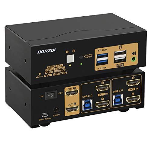 DEPZOL Conmutador KVM USB 3.0 de 2 Puertos con Monitor Dual HDMI 4K 60Hz, Teclado Video Mouse Periféricos Conmutador para 2 Ordenadores, 2 Monitores con Cables y Audio 922HUA-3