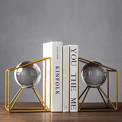 Home Decorative Crystal Ball Bookshelf Bookends,Paper Weights, Book Ends,Bookend Supports, Book Stoppers, Set of 2