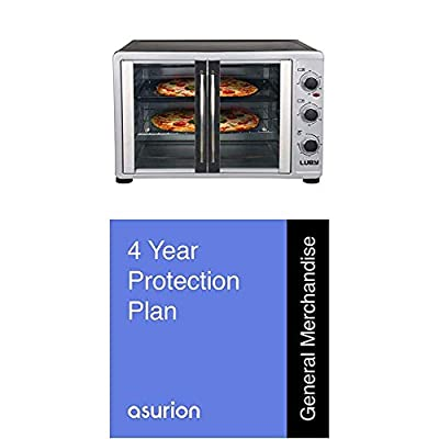 BUNDLE Luby Extra Large Toaster Oven, 18 Slices, 14'' pizza, 20lb Turkey, Silver, Stainless Steel + Asurion 4-year Warranty