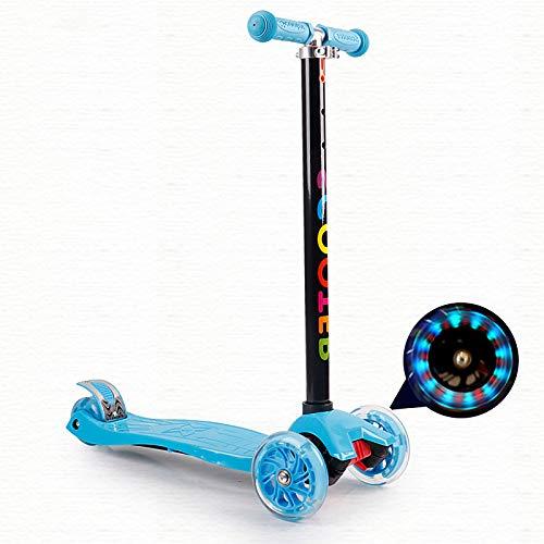 LABYSJ Scooters Plegables LED Brillantes, patineta para niños de 4 Ruedas, Bicicleta de Equilibrio, patineta Ajustable en Altura, Juguetes para niños, Regalos, 6-12 años, Carga 50 kg,Azul