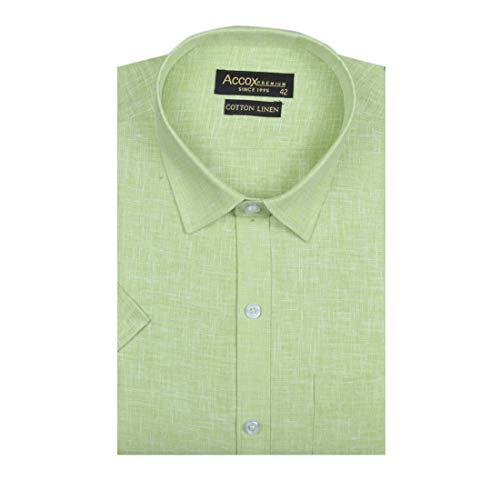 ACCOX Men's Half Sleeves Formal Regular Fit Cotton Linen Shirt(GC308)