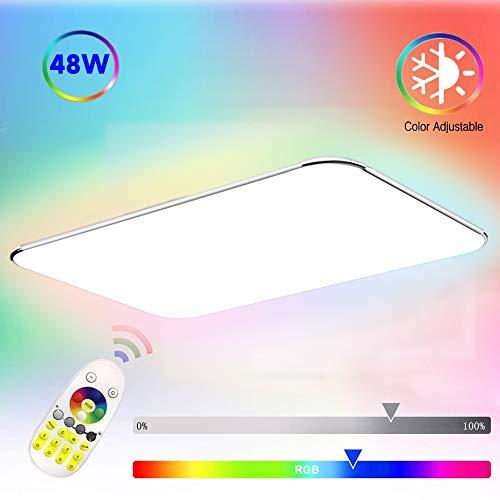 COOSNUG Deckenleuchte RGB 48W Farbwechsel LED Deckenlampe Bunt Dimmbar Deckenleuchte Farbig Wohnzimmer Lampe Modern Deckenlampen Kueche Flur Schlafzimmer mit Fernbedienung