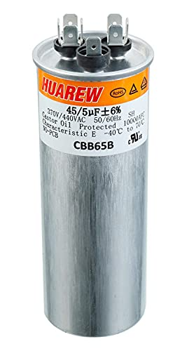 HUAREW 45   5 UF ± 6 % 1.96X5.34 인치 45 + 5 MFD 370   440 VAC CBB65 듀얼 런 콘덴서 스트레이트 냉각 또는 히트 펌프 에어컨 또는 AC 모터 및 팬을위한 듀얼 런트 둥근 커패시터