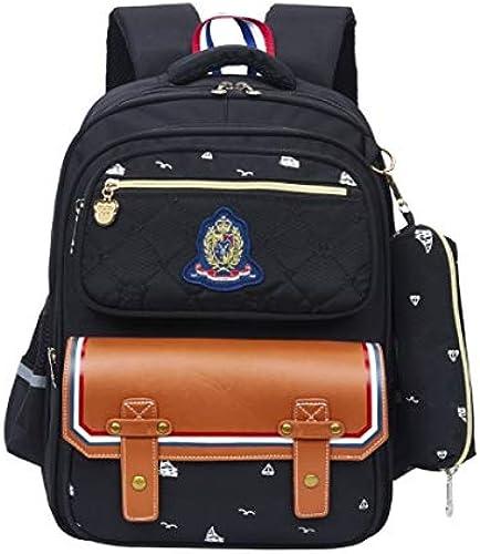 HoEOQeT Sac d'école pour enfant, élève d'école primaire, sac d'école 1-6-12 ans (Couleur   Noir)