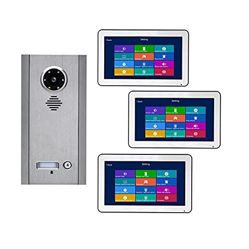 HBHYQ WiFi inalámbrico 10 Pulgadas Bus 2 Cables Teléfono de Video Teléfono de Video Kit de Sistemas de intercomunicación para el hogar 3 Unidades Apartamento Noche Visión