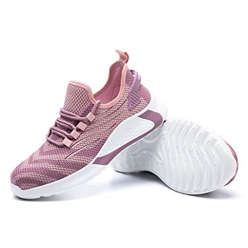 WggWy Cómodos Zapatos De Protección De Seguridad Transpirables, Zapatos De Trabajo De Seguridad De Pie De Acero para Hombres Seguridad Ligero Ligero Ligero No Resbalón Calzado Rosa,48