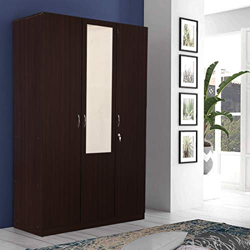 HomeTown Allen Engineered Wood Three Door Wardrobe in Walnut Colour