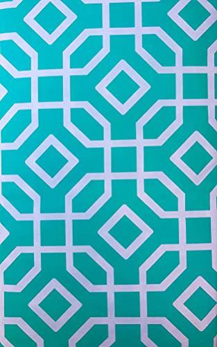 Tischdecke aus Vinyl, achteckig, Rankgitter-Design, Minzgrün und Lachsorange (Grün/Weiß, 52 x 90 cm lang)