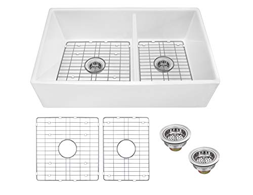 Soleil SSFC60PLNP 33-in x 18-in Fireclay 60/40 Double Bowl Apron Front Farmhouse Kitchen Sink with Grid Set and Drain Assemblies