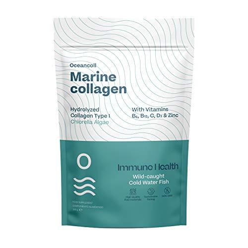 Hydrolysiertes Meereskollagen mit Vitaminen B6, B12, C, D3, Zink | Ergänzung für Immunität, Haut, Muskel, Gelenkknorpel und Knochen | Kollagenpeptide aus Wildfisch | Chlorella-Algen, 330g | 60 Dosen