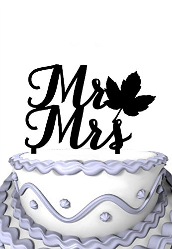 Meijiafei Wedding Cake Topper - Mr and Mrs With Fall Leaf