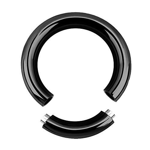 Treuheld® | 5mm x 19mm Segmentring Piercing Ring | Chirurgenstahl | Dick | Schwarz | Intimpiercing für Frau und Mann, Septum, Ohr, Lobe, Nase, PA