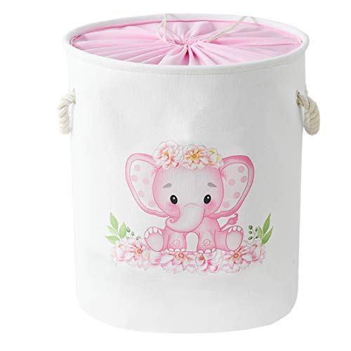 INough Wäschekorb mit Elefantenmotiv, für Kinder, Baby-Wäschekorb, groß, faltbar, mit Griffen, wasserdicht, rund, Leinen, für Kleinkinder (rosa Elefant)