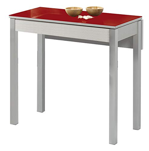 ASTIMESA Mesa de Cocina con Ala Caída de Cristal Rojo 50x90cm