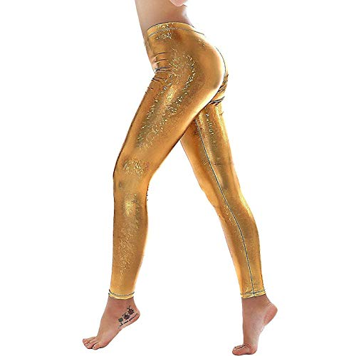 Janly Clearance Sale Yoga Pants for Women , Women's Sexy Shiny Solid Color Faux Leather Mid-waist Tight Pants , Easter St Patrick's Day Deal (Gold-M)