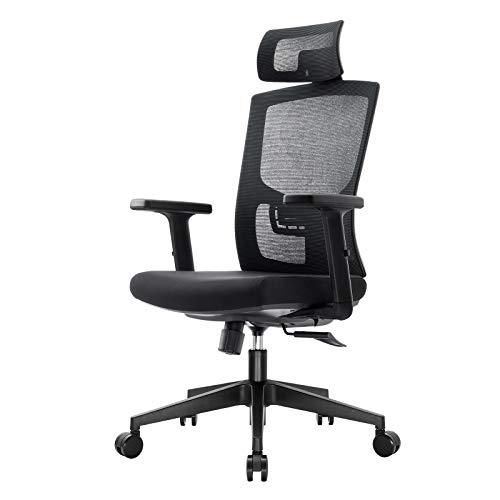 Komene Chaise de Bureau Ergonomique Fauteuil de Bureau en Maille à Dossier Haut avec Appui-tête Support Lombaire pour Maison Bureau (Noir)
