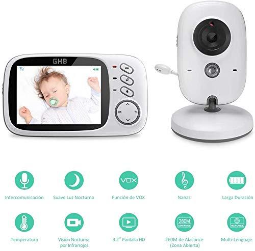 GHB Vigilabebés Inalambrico Bebé Monitor Inteligente con LCD 3.2 Pulgadas y Cámara Visión Nocturna