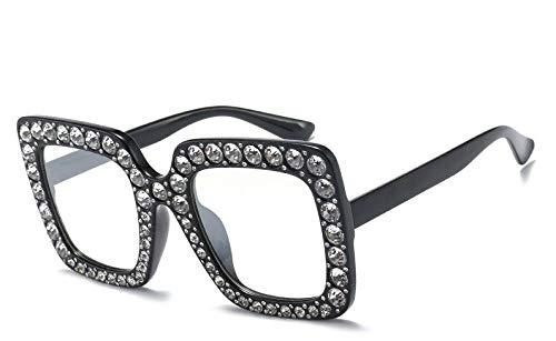 U/N Gafas de Sol Rosa de Cristal para Mujer para Mujer Gafas cuadradas con Montura Grande Gafas Sombras-6