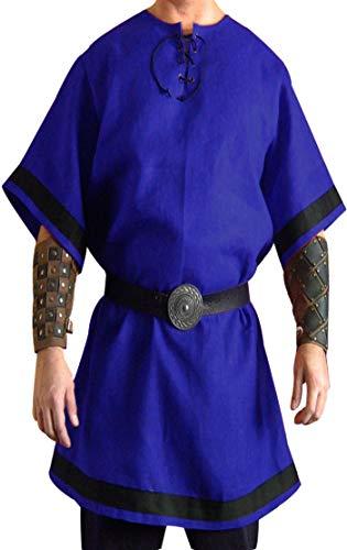 SUNLEXA Halloween Costumes Medieval Men's Renaissance Knight Viking,Celtic Tunic Long Surcoat Tabard LARP Size-L