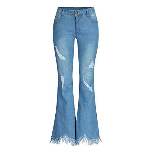 ZEZKT Mujer Vaquero Cintura Alta Rotos Pantalones de Mezclilla con Cremallera y Botones Push up elástico Jeans Denim Pantalón Moda Casual Pantalones Acampanados con Flecos