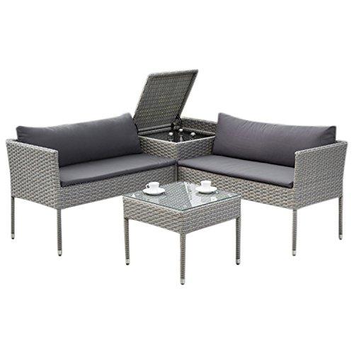 gartenmoebel-einkauf Balkon Loungeset Brescia mit Staufach, Stahl + Polyrattan grau, Polster dunkelgrau