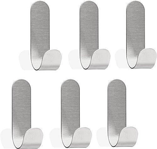 Zeryu Toallero sin agujeros, juego de 6 ganchos autoadhesivos para baño o cocina, ganchos de acero inoxidable 60 x 18 x 33 mm