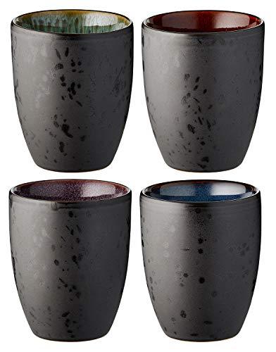 BITZ - Thermo Mug - Thermobecher - Stoneware - Schwaarz/Multicolor - 270ml Volumen - 4tlg.
