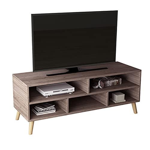 DlandHome Mueble de TV con Almacenamiento Banco de TV para Sala de Estar 116.5cm x 40cm x 42CM Gabinete de Unidad de TV/Consola de TV/Gabinete de Dormitorio,Rovere Grigio