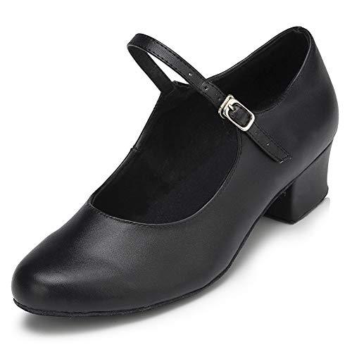 VCIXXVCE Frauen t Riemen Charakter Schuhe Moderne Tanzschuhe mit geschlossenen Zehen Party Pumps, Schwarz, EU 36.5