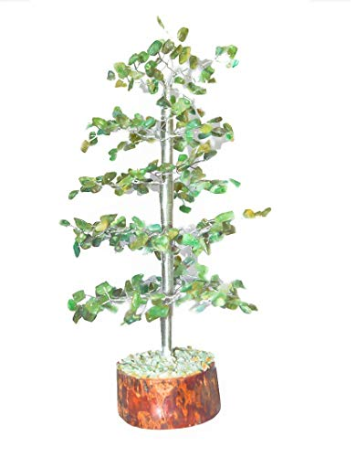 Crocon Natural Color Healing Gemstone Cristaux de bonsaï Fortune Money Tree for Good Luck, Wealth & Prosperity Spiritual Gift Size 10 inch (Argent)