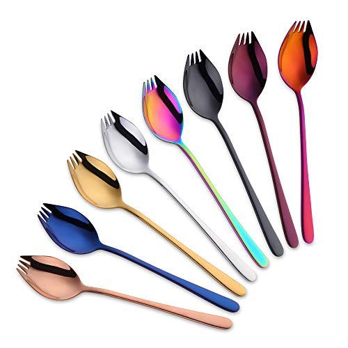 Do Buy Cuchara Tenedor Cuchillo Tenedor Buffet Cuchara sopera Cuchillo 3 en 1 vajilla Vajilla al Aire Libre Vajilla Camping Acero Inoxidable (8 Colores)