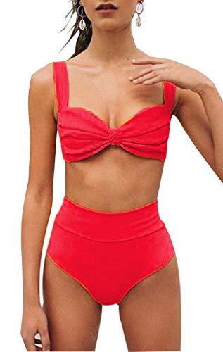 CheChury Mujer Color Sólido Conjunto de Frill Bikini Talle Alto Trajes de baño Dos Piezas Grandes Sexy Vintage Vientre Plano Bañadores Push Up Bañador
