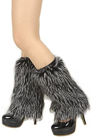 Ibeauti Womens Furry Leg Warmers Super Soft Rainbow Boots Shoes Cuffs Covers Medium Length 15 product image