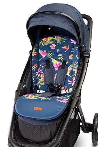 Universal Sitzauflage für Kinderwagen Buggy 80 x 40 cm Velvet Auflage Kinder-Sitzauflage Kindersitzauflage gemustert Wendeauflage 2-seitig Babysitz Buggy Fußschutz (Kolibri)