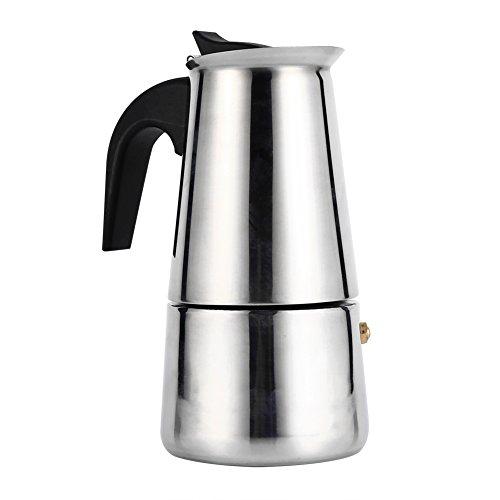 Coffee Maker, Stainless Steel Moka Coffee Pot Percolator Stovetop Espresso Latte Maker Percolator Stove Top Filter Coffee Maker Pot Easy Clean (200ML 4 Cup)