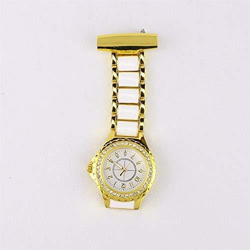 Cxypeng Damen Krankenschwester FOB Uhr,Krankenschwester-Uhr des britischen Uhrwerks mit Diamant-Set, Geschenkuhr der Retro-Taschenuhr Student-Golden,Pulsuhr Krankenschwester