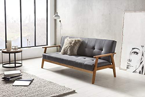 SalesFever® Design-Schlafsofa, Sofa-Bett im skandinavischen Stil, modernes 3-Sitzer Klappsofa, Stoff dunkelgrau, FSC® 100% Holzgestell Eiche