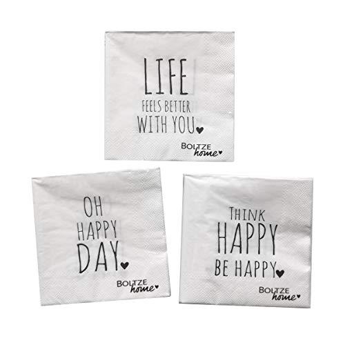 Servietten mit Sprüchen Oh Happy Day – 3x 20 Stück schöne Papierservietten für Kaffeetafel, Geburtstag oder jeden Tag