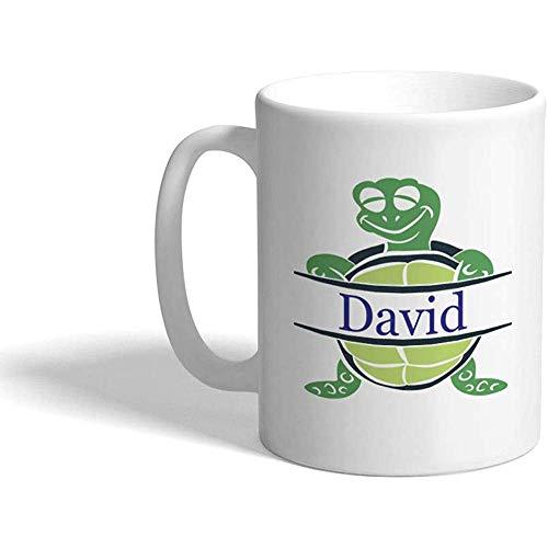 Gewohnheit Kaffeetasse 330 ml Personifiziertes Namensschildkröten-Seeleben C Keramik-Tee-Schalen-Weiß