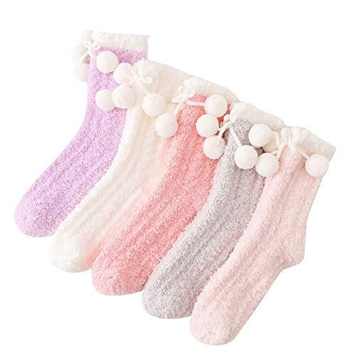 5 Pairs Women Fuzzy Socks Winter Cozy Soft Fluffy Slipper Socks Bowknot Warm Cotton Breathable Socks