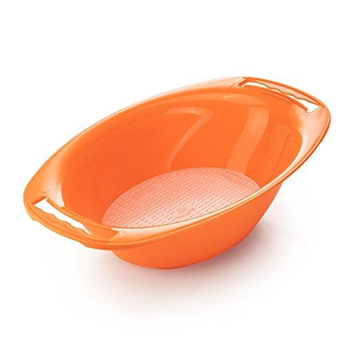 Börner Auffangschale orange mit Sieb für V-Hobel und Reiben der Börner-PowerLine-Serie