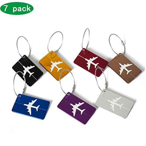 Wing Vliegtuig Bagage Tags met Naam ID Kaart, Metalen Reizen Koffers Naam Labels, Perfect Om Snel Spot Bagage Suitcase, Pack van 7