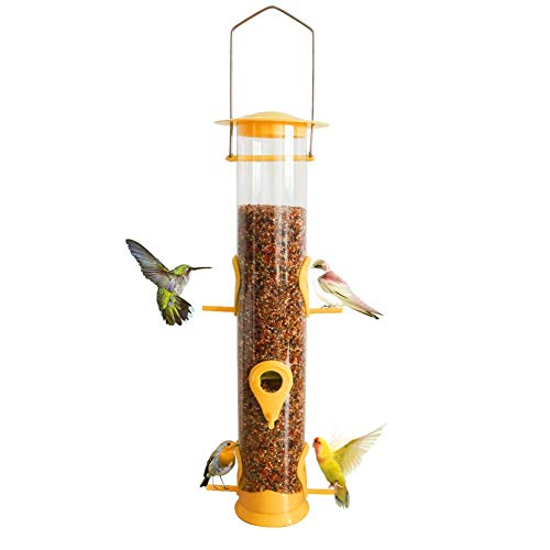 Bird Feeder Hanging Classic Seed Tube with 6 Ports Hard Plastic with Steel...