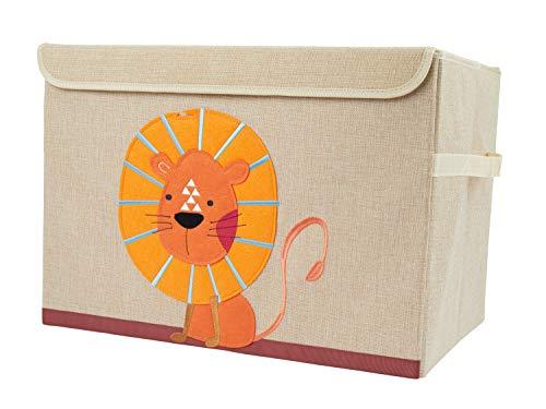 Bieco Aufbewahrungsbox mit Deckel | Löwen Motiv 65L faltbar | ca. 36x36x51cm | Spielzeugkiste mit Deckel | Aufbewahrungsbox Kinder | Kisten mit Deckel | Aufbewahrungsbox Groß | Wickeltisch Organizer